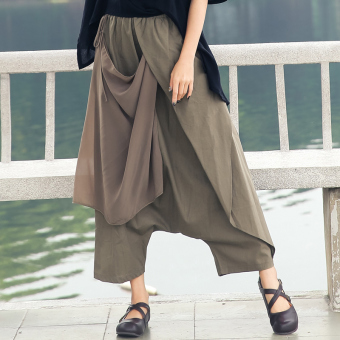 Cotton linen elastic waist big crotch pants (Khaki)