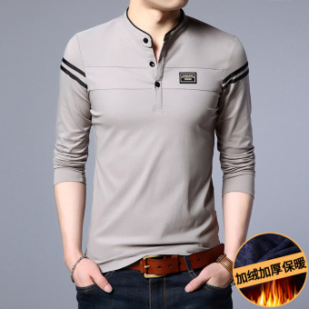 Cotton male small collar bottoming shirt T-shirt (Upgrade Plus velvet thick-gray)