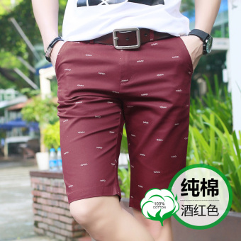 Cotton men summer Slim fit shorts casual shorts (Wine red color)