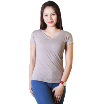Cotton Republic Anastasia V-Neck Soft Top Blouse (Gray)