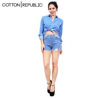 Cotton Republic Comfortable Denim Shorts - Sexy Brithney (DenimBlue) - 3
