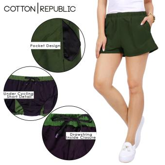 Cotton Republic Comfortable Walking Shorts with Cycling Shortsunder (Green)