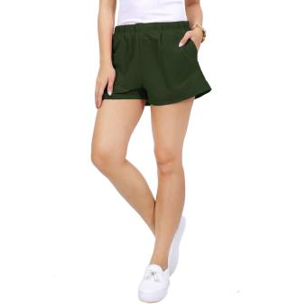 Cotton Republic Comfortable Walking Shorts with Cycling Shortsunder (Green) - 4