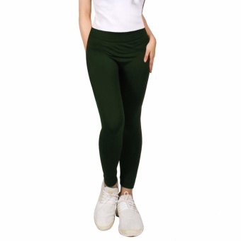 Cotton Republic Modern Fashionable Plain Leggings (Dark Green) Price Philippines