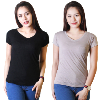 Cotton Republic Set of 2 Anastasia V-Neck Soft Top Blouse Black andGrey