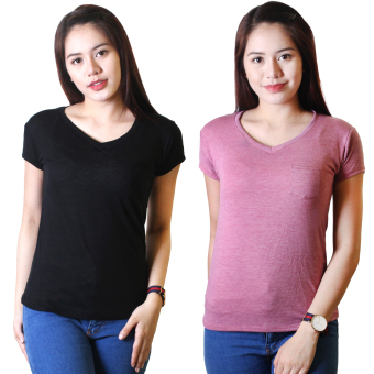 Cotton Republic Set of 2 Anastasia V-Neck Soft Top Blouse Black andPurple