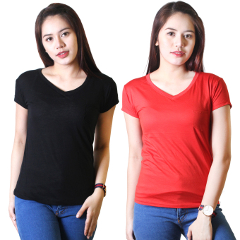 Cotton Republic Set of 2 Anastasia V-Neck Soft Top Blouse Black andRed