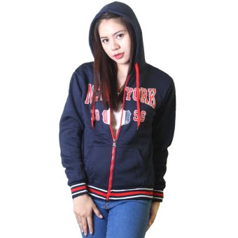 Cotton Republic Sophisticated NEW YORK 1896 Hooded Pullover Zip Up Jacket (Dark Blue) with Free Leggings (Black) - picture 2