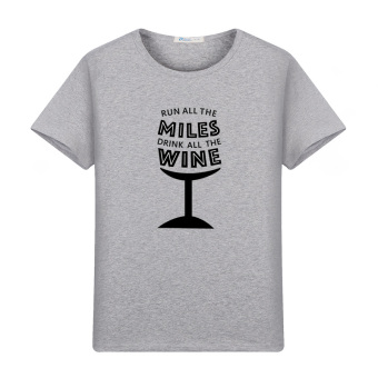 Cotton Short sleeved New style round neck printed T-shirt (Gray)
