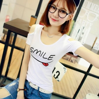 Cotton Slim fit printed v-neck cool short sleeved t-shirt Short sleeve Top ([Round neck] white smile) ([Round neck] white smile)