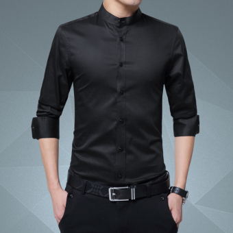 Cotton solid color male long-sleeved white shirt collar shirt (Black color)