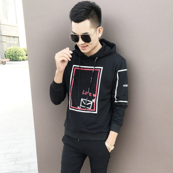 Couple Korean-style men casual hooded hoodie men's jacket (1769 jacket black men)
