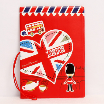 Couple's 3D export travel ticket storage card holder passport folder (Red)