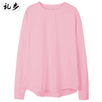 Couple's autumn New style for men and women round neck t-shirt (082 solid color long T pink color)