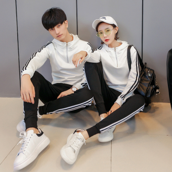Couple's autumn New style long-sleeved pants for men and women sportswear (White)