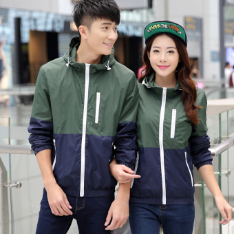 Couple's casual breathable windproof clothes sports coat thin coat (911 thick section dark green color) (911 thick section dark green color)