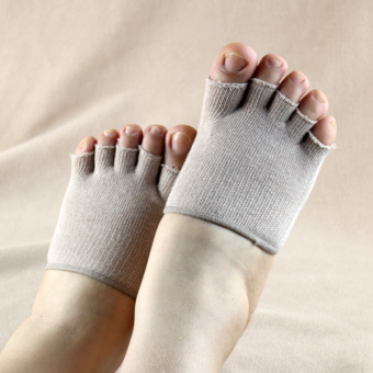 Couple's cool cotton summer men and women toe socks cotton toe socks (Beige)