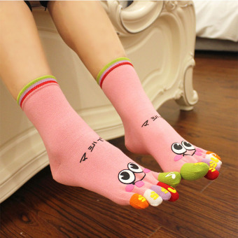 Couple's cotton tube men and women points toe socks (Pink women's smiley)