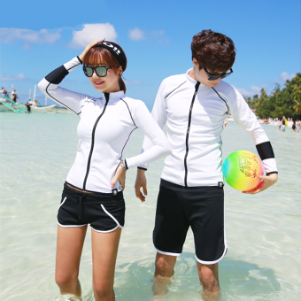 Couple's New style for Men and Women quick-drying sunscreen swimming clothing zipper jacket (Black White side men's beach pants)