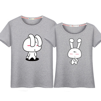 Couple's New style short sleeved Top T-shirt (Gray (rabbit))