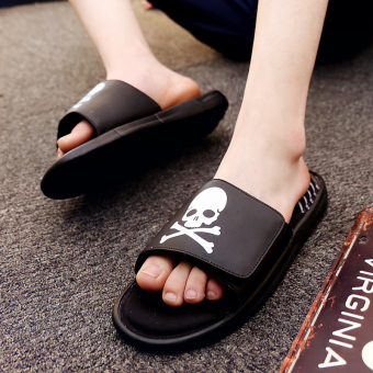 Couple's Shishang outerwear for men and women sandals and slippers sandals (Black Skull)