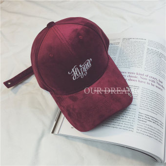 Couple's versatile velvet Spring and Autumn lettered embroidered baseball cap (Wine red color)