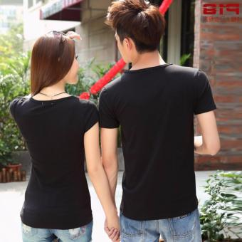 Couples T-Shirts for Men and Women with Arrowed Heart Style (Black) - 2