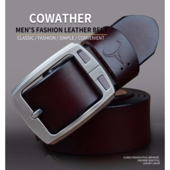 COWATHER 100% Cow Leather Belts For Men - Mens Cow Genuine Leather Belt for Dress & Jeans - Big & Tall Size - Great - 4