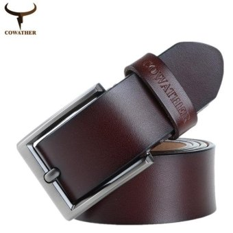 COWATHER 2017 Newest Designer Belts Men High Quality Cow Genuine Leather Vintage Pin Buckle Ceinture Mens Belts Luxury XFY004