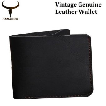 COWATHER Crazy Horse Leather Men Wallets Vintage Genuine Leather Wallet for Men Cowboy Top Leather Thin To Put Cross Style Black - intl
