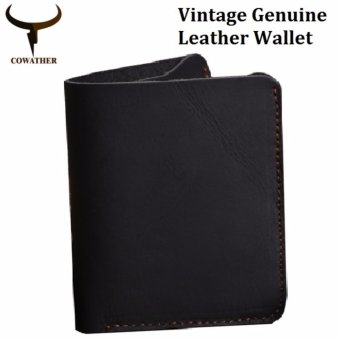COWATHER Crazy Horse Leather Men Wallets Vintage Genuine Leather Wallet for Men Cowboy Top Leather Thin To Put Vertical Style Black - intl