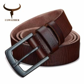 COWATHER Men's 100% Soft Top Genuine Cow Leather Buckle Dress Belt Vintage Alloy Buckle Belt for Men Male Waist Strap 110-130cm Men Belt Black Brown
