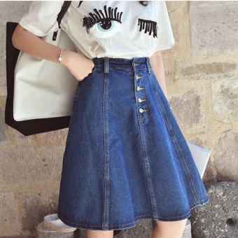 Cowboy high waisted skirt, short skirt, A word skirt, full skirt - intl