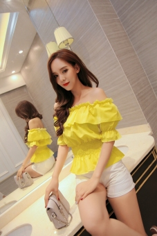 Crazy sweet chiffon horizontal neck off-the-shoulder T-shirt (Yellow) (Yellow)