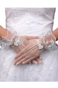 Creamy White Lace Wedding Bridal Gloves