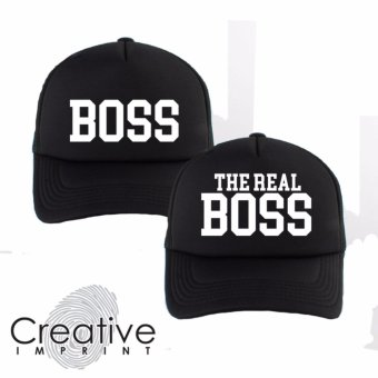 Creative Imprint Boss The Real Boss White A Couple Matching PairTrucker Net Mesh Cap (Black) Price Philippines
