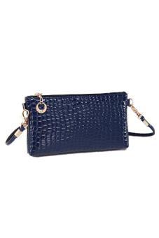 Crocodile Leather Messenger Crossbody Bag (Blue) - picture 2