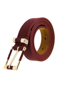 Crocodile Pattern Grain Leather Waist Belt (Wine red)
