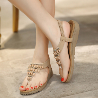 Crystal female flat heel gladiator sandals (Beige)