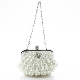 Crystal Pearl Beaded Evening Bag Off-white - picture 2