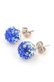 Crystal Rhinestones and Clay Shamballa Studs Earrings (Multicolor) - picture 2