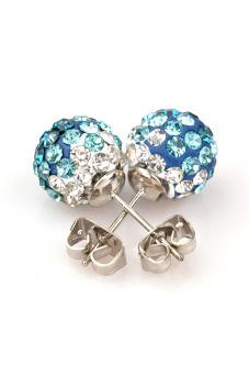 Crystal Rhinestones and Clay Shamballa Studs Earrings (Multicolor)
