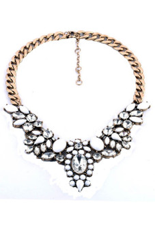 Crystal Statement Necklace (White/Gold)