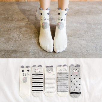 Cute autumn warm thin tube socks female cotton socks (The second section tube (5 pairs loaded))