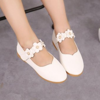 Cute Baby Girl's Child's Kid's Princess Toddler Flat Kids School Casual Leather Shoes I110 White - intl Price Philippines