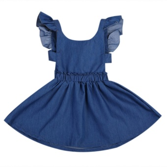 Cute Baby Girls Kid Toddler Summer Ruffle Denim Jeans Tutu OutfitShort Dress - intl - 3