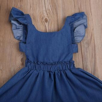 Cute Baby Girls Kid Toddler Summer Ruffle Denim Jeans Tutu OutfitShort Dress - intl - 4