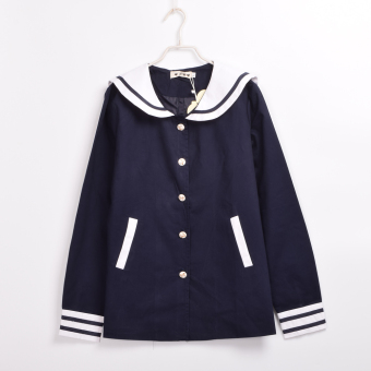 Cute Cat Ears Sailor Collar Lolita Navy Coat HARAJUKU Preppy Student Jacket (Navy) Price Philippines