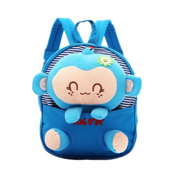 Cute Childen Babys Monkey Style Canvas Backpack School Bag (Blue)