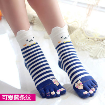 Cute cotton full in the system women's socks toe socks (Cute blue striped)